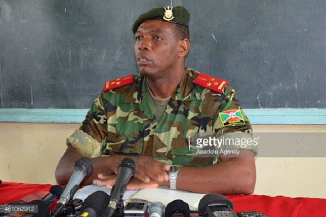 CIBITOKE, BURUNDI - JANUARY 05:  Colonel Gaspard Baratuza, Burundi Army spokesman, speaks during a press conference at the Cibitoke camp in Cibitoke, Burundi on January 05, 2014. Col. Gaspard Baratuza said at a press conference on Monday that more than 95 militants had been killed so far, while the Burundian army had captured nine others. (Photo by Renovat Ndabashinze/Anadolu Agency/Getty Images)