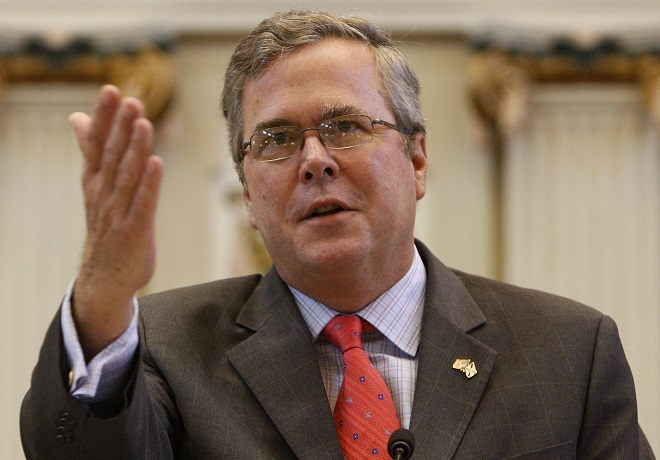 Former Fla. Gov. Jeb Bush talks about the major overhaul of Florida's public education system during his eight years in office, at the state Capitol in Oklahoma City, Wednesday, Aug. 11, 2010. (AP Photo/Sue Ogrocki)