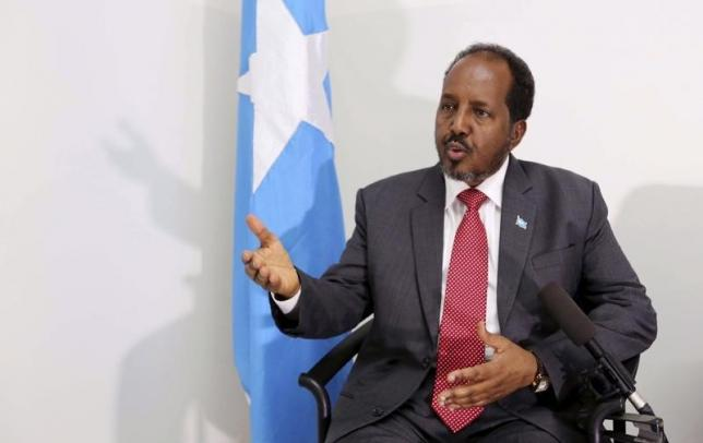 Somalia's President Hassan Sheikh Mohamud speaks during an interview with Reuters in Mogadishu, May 9, 2014. REUTERS/Feisal Omar